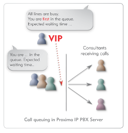 Call queuing in Proxima/Proxima plus IP PBX Server