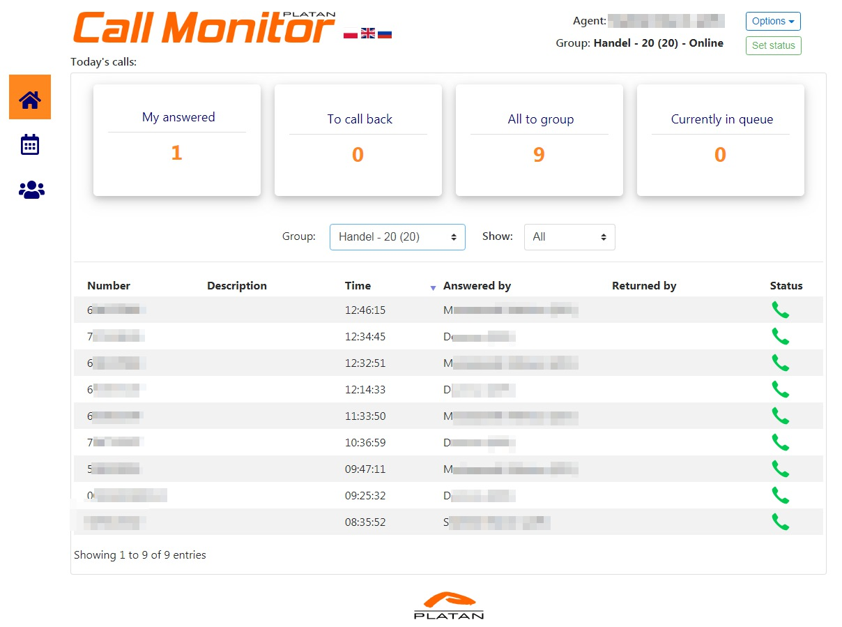 Agent page in Platan Call Monitor